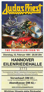 EINTRITTSKARTE/TICKET: JUDAS PRIEST 12.02.1991 HANNOVER -FÜR FANS UND SAMMLER-