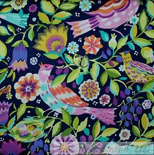 BonEful FABRIC FQ Cotton Quilt Rainbow Tropical Island Bird Green Leaf Tree Girl
