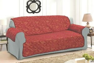 BURGUNDY GOLD SOFA - SETTEE SLIP COVER / PET PROTECTOR (QUILTED) FLORAL DESIGN