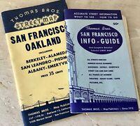 Lot of 2 Vintage 1950s San Francisco Maps/ Guide Books Thomas Bros Excellent.