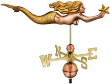 Weathervane Pure Copper Mermaid with Starfish Roof Mount in Golden Leaf Finish