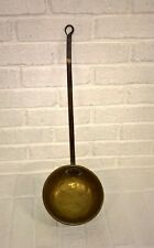 Antique Brass Bowl Wrought Iron Handle Kitchen Fireplace Tool