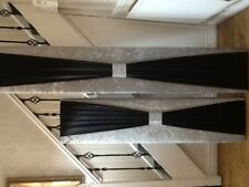 Boxed window pelmet 5ft in silver crush velvet  ans satin sash
