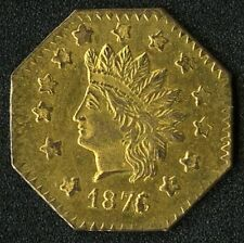 US Territorial Gold California Dollar, Octagonal, 1876
