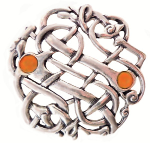 Celtic Open Weave Pewter Pin Badge With Amber Stones Made In Cornwall