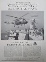 2/1964 PUB ROYAL NAVY FLEET AIR ARM HMS NUBIAN WESTLAND WASP ORIGINAL AD