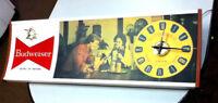 Budweiser beer sign lighted bar signs 1 clock light huge Anheuser-Busch old UD4