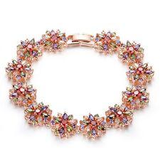 Fashion 18k Rose Gold Charm Bracelets With Multi Flower Crystal Bangle For Women