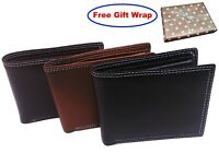 Men's Boxed Leather Wallet Black Credit Card Cash ID Fast Shipping UK Seller