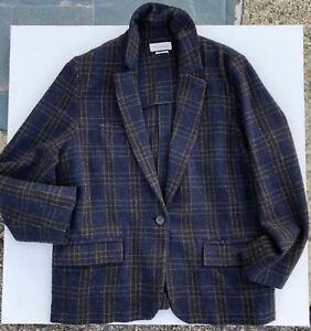 Isabel Marant Etoile Charly Oversized Blue Plaid Tweed Blazer Size 44