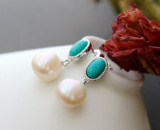 C06 Earring Turquoise and Natural Shaped Freshwater Pearls Sterling Silver 925