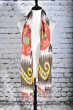 New Scarf Fringe Southwestern Tribal Yellow Red Brown Blue Silk Blend