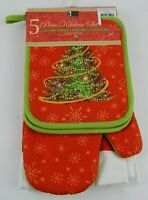 Better Home 5 PC Kitchen Set 2 Dish Towels 1 Oven Mitt 2 Pot Holders Christmas