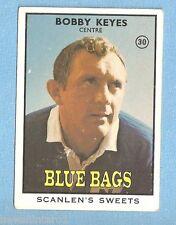 1968 - 2  SCANLENS RUGBY LEAGUE CARD #30 BOBBY KEYES, NEWTOWN BLUE BAGS