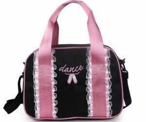UK Seller Girls Pretty Pink BALLET Bag Dance Bag Handbag Shoulder Bag Black