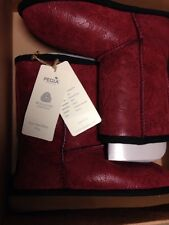 PEGIA Woolmark Double face Sheepskin Boots Girls 3 Fur Red Leather Suede SALE