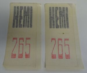 VINTAGE CHRYSLER VALIANT HEMI 265 CHARGER DECAL / STICKERS X 2