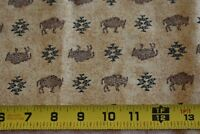 By 1/2 Yd, Brown Native-American Theme on Tan Cotton, Cranston Collection, N2476