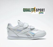 Reebok Royal CL Jog 2 Bianco Iridescente Scarpe Bambina Sneakers DV9021