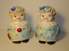 Vintage Enesco Lorraine Elam Large Pigs Ceramic Salt & Pepper Shaker Set