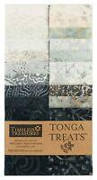 "Timeless Treasures Batik Tonga Treats - Graphite - (20) 2.5"" Jelly Roll Strip"