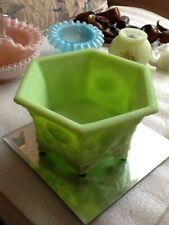 Vintage Fenton Lime Sherbet Satin Verly's Hexagonal Floral Planter/Bowl, 8226 LS