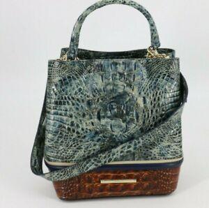 BRAHMIN Eastwood Collection Amelia Bag Tote Purse Glacier R10 1392 Blue Brown