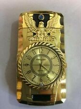 Huayue Butane Gold Tone Lighter with Illuminated Watch -  Engraved Eagle Design