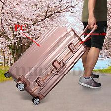 "Rose Gold 20"" Hard Shell 4 Wheels PC +Aluminium Alloy Frame Suitcase Travel Case"