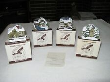 Set Of 4 R.S.V.P. Int. American Rustic Series Cold Cast Village Buildings 1989