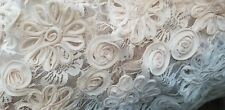 Rachel Lace Fabric W/ Sewn In 3D Chiffon Flowers 2 yards piece Champagne color.