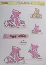3D A4 Paper Tole Pink Gym Boots Girl 1 Picture + 2 Toppers Card Making