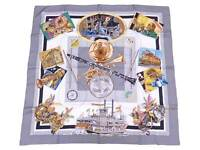 HERMES Carre 90 New Orleans Creole Jazz Scarf Gray/Multicolor 100% Silk e47068a