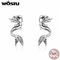 Wostu Mermaid 925 Sterling Silver Women Earrings European Fashion Ear Stud Gifts