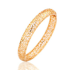 HUCHE Hollow Carved 18k Yellow Gold Filled Elegant Women Lady Bracelet Bangle
