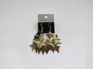 Trendige Edelstahl Ohrringe Damen Pailetten Sterne gold silber *NEU***