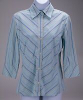 BANANA REPUBLIC Women's 3/4 Sleeve Button Front Blouse Top Size M Blue Stripes