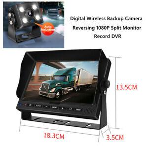 "7""Screen 1080P Car Truck RV Digital Backup Camera Reversing Split Monitor Record"