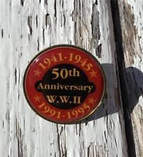 VTG GOLDTONE W.W. II 1941-1945 50th ANNIVERSARY W.W. II 1991-1995 TACK~LAPEL~PIN