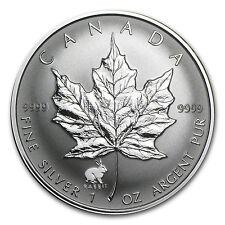 1999 1 oz Silver Canadian Maple Leaf Coin - Lunar Year of the Rabbit Privy Mark