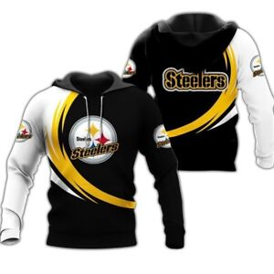 Pittsburgh Steelers Gym Workout Casual Hooded Sweatshirts Hoodie Pullover Jacket