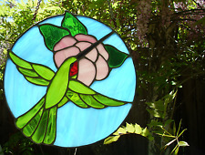 Hummingbird Art Stained Glass Vintage Original Bird Artwork Leaded Suncatcher