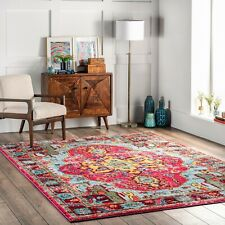 nuLoom Traditional Vintage Distressed Area Rug in Multi Pink, Yellow, Blue