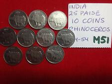 M51 India; Lot of 10 Coins 25 Paisa Rhinoceros  KM#54