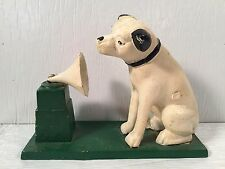 Vintage Cast Iron RCA Victor Phonograph Nipper Dog Coin Bank