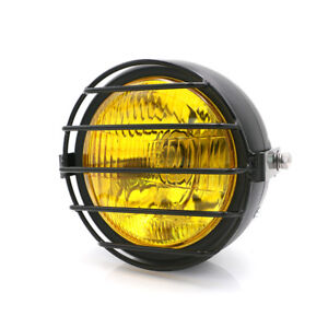 """6.5"""" Retro Motorcycle LED Headlight Side Mount + Grill Cover Set for Cafe Racer"""
