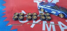 Gold 1/64 T5 3 Sets Rubber Wheels 5 Spoke Real Riders Hot Wheels Matchbox Nissan