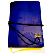 TRAVEL JOURNAL Blue Embossed Map Bucket List Holiday Travellers Notepad Book