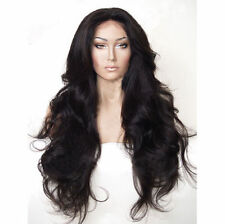 """24"""" Long Wavy Wig Wigs Natural Black Whole Lace Heat Resistant Synthetic Hair"""