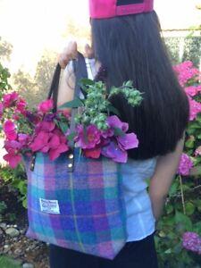 Purple Harris tweed bag purse tartan bag women's gift for her Scottish